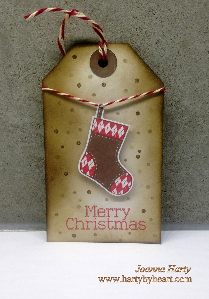 Christmas tag, stamps Clearly Besotted, In stiches Christmas. www.hartybyheart.com