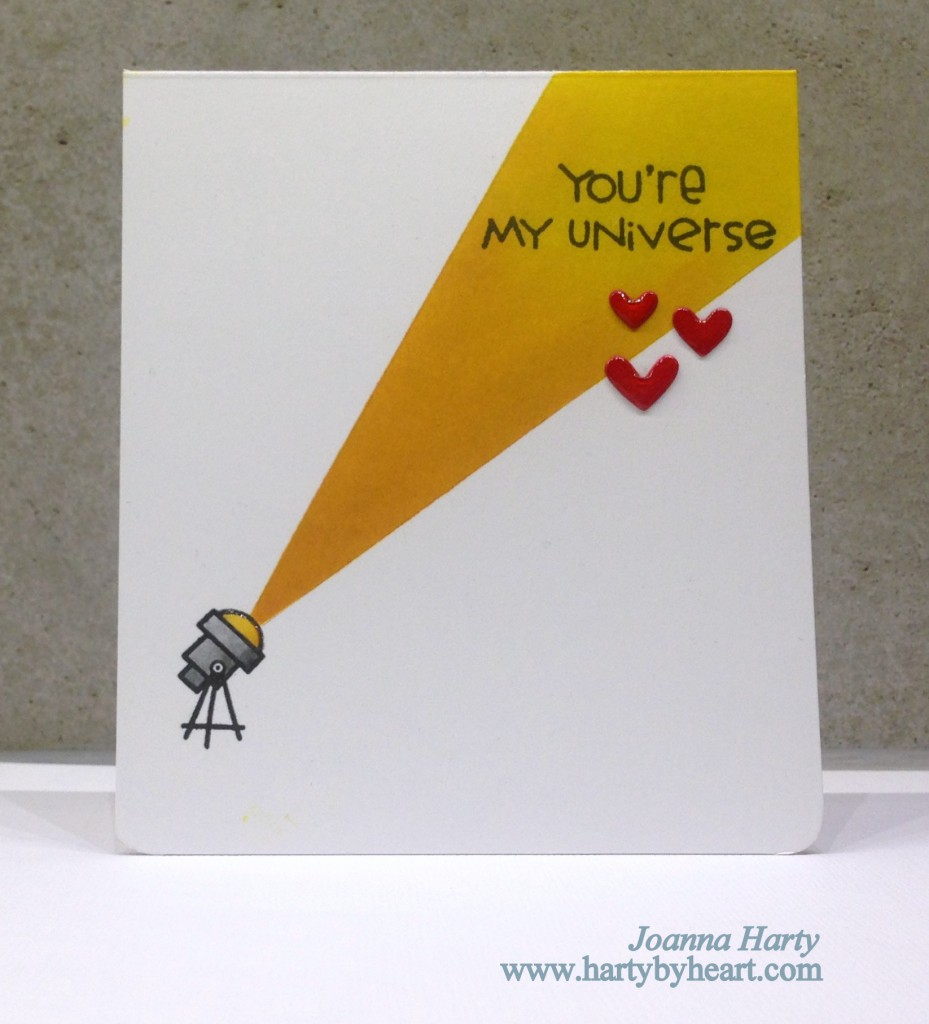 Valentine card with Paper Smooches stamps, Space Cadet