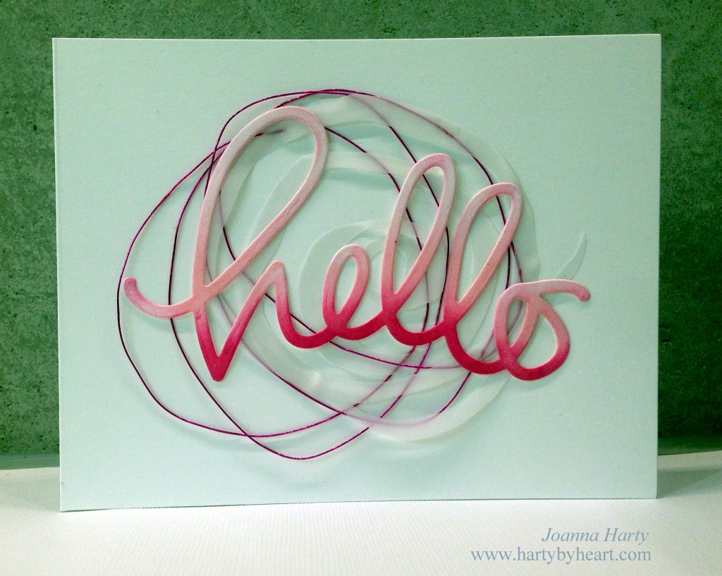 Hello die from Simon Says Stamp with vellum and metallic wire on the back. www.hartybyheart.com