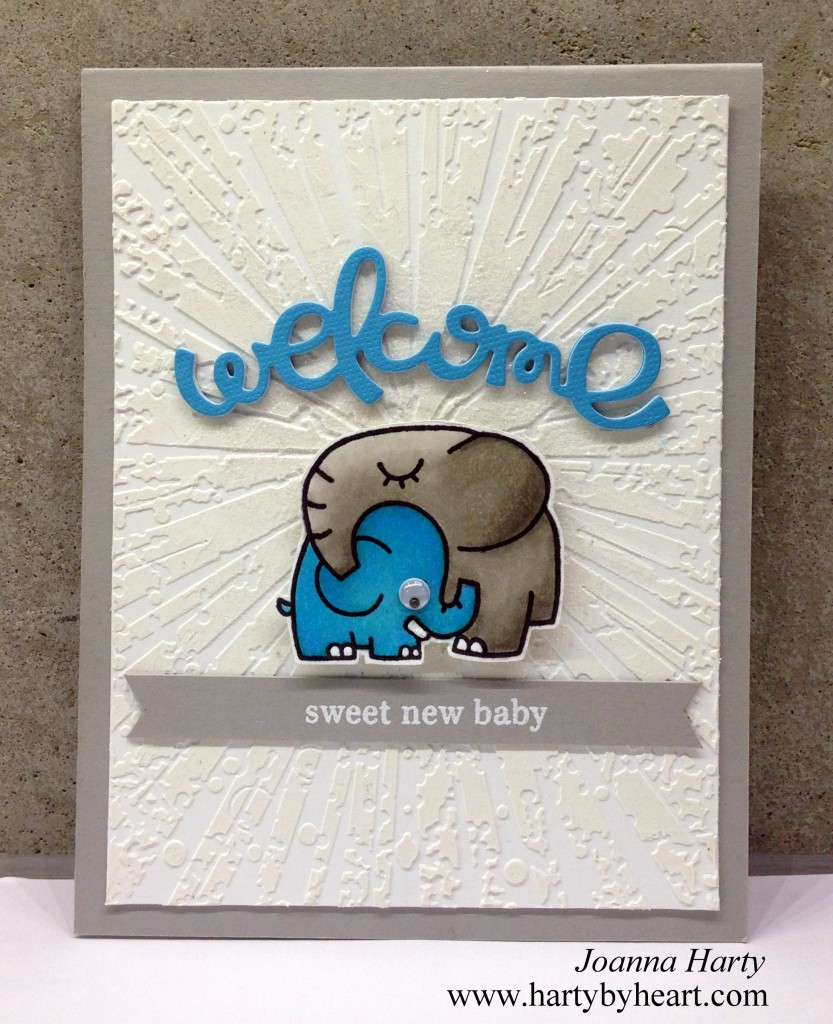 Baby card created by Joanna Harty with Paper Smooches die and stamp, stencil from Memory Box
