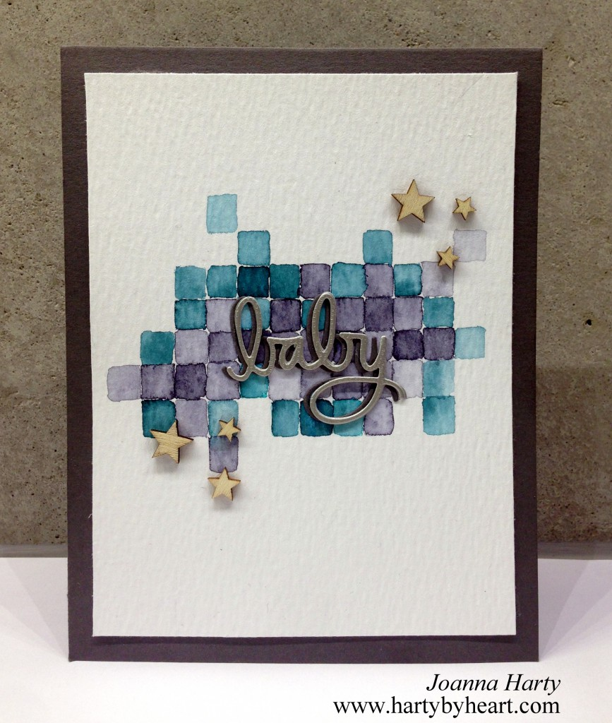Babycard with watercolor background and Simon Says Stamp word die