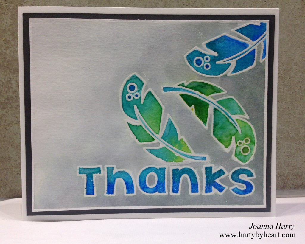 Thank you card by Joanna Harty with TAWS stamps, more information and a video over at www.hartybyheart.com