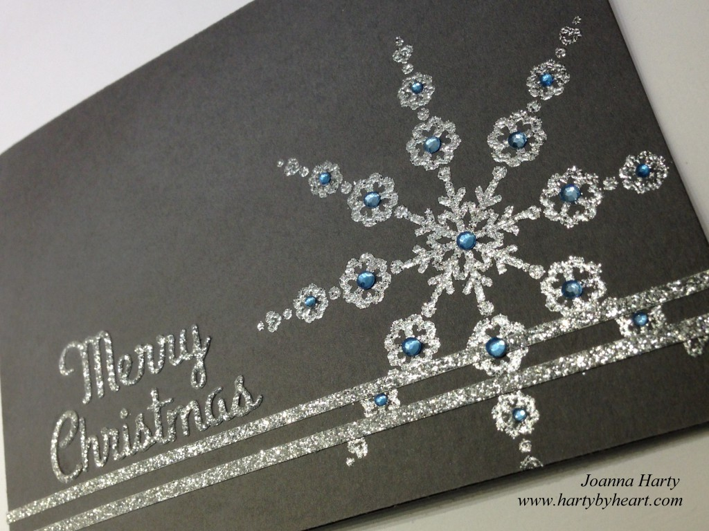 Card created by Joanna Harty using CAS-ual fridays stamp Lovely Snowflake & Noel Fri-Dies
